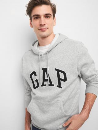 Béžová pánska mikina GAP Hoodie Logo pánské sivá S