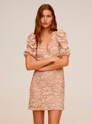Béžové krajkové šaty Mango Katri dámské béžová M