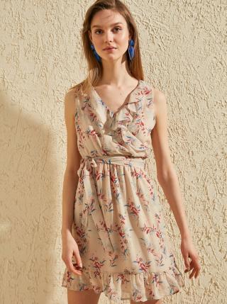 Béžové kvetované šaty Trendyol - L dámské béžová L