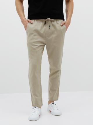Béžové ľanové nohavice ONLY & SONS Linus pánské béžová XXL