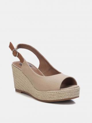 Béžové sandálky na plnom podpätku Xti dámské béžová 40