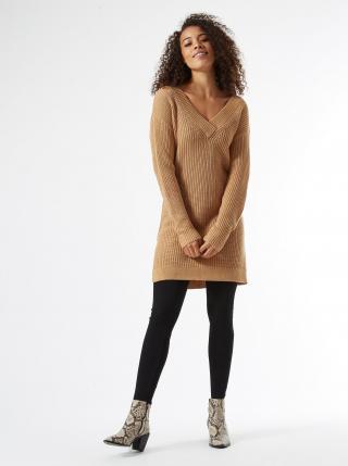 Béžové svetrové šaty Dorothy Perkins Tall dámské béžová XXL