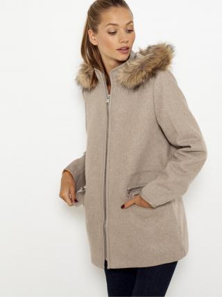 Béžový zimný kabát s kapucou CAMAIEU dámské béžová 46
