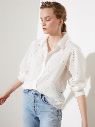 Biela dámska voľná košeľa s madeirou Trendyol dámské L