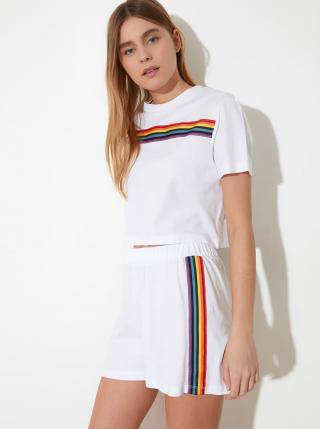 Biele dámske pyžamo s farebnými pruhmi Trendyol dámské biela S