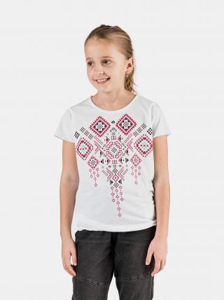 Biele dievčenské tričko s potlačou SAM 73 biela 140