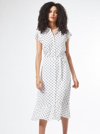 Biele košeľové bodkované šaty Dorothy Perkins dámské biela L