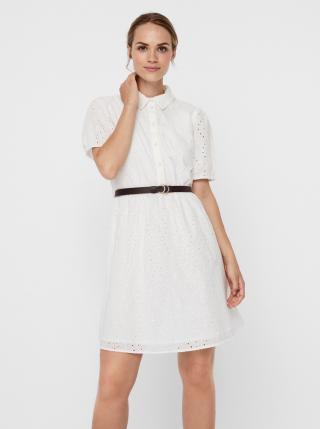 Biele košeľové šaty s madeirou VERO MODA Ellie dámské biela L