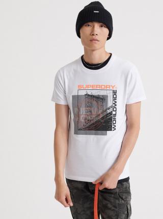 Biele pánske tričko s potlačou Superdry pánské biela L