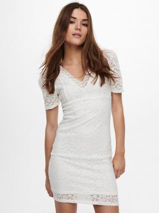 Biele púzdrové krajkové šaty ONLY Alba dámské biela L