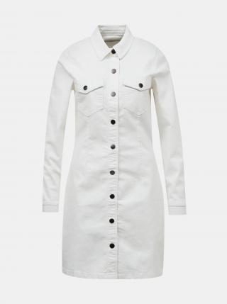 Biele rifľové košeľové šaty Jacqueline de Yong Sanna - XS dámské biela XS