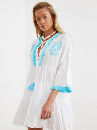 Biele šaty s výšivkou a strapcami Trendyol dámské biela L