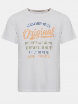 Biele tričko s potlačou Blend pánské biela L