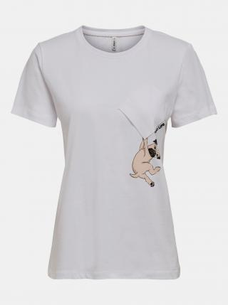 Biele tričko s potlačou ONLY dámské biela L