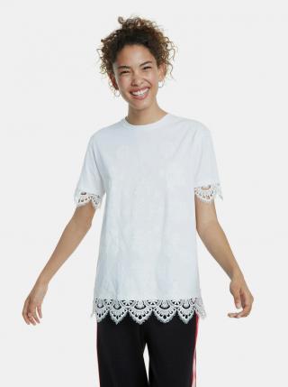 Biele vzorované tričko s krajkou Desigual dámské biela L