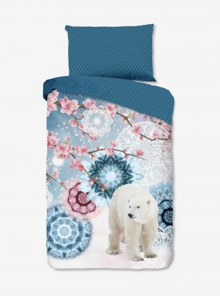 Bielo-modré obojstranné flanelové obliečky na jednolôžko Home Hip Kodiak modrá