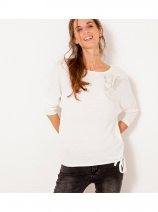 Biely ľanový sveter CAMAIEU dámské biela L
