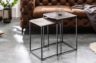 Bighome - Konferenčný stolík FUSION 2set- strieborná, čierna