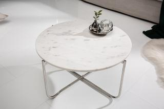 Bighome - Konferenčný stolík NOBL 62 cm - biela, strieborná