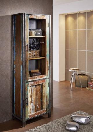 Bighome - PORTO Vitrína so skrinkou 186x60 cm, staré drevo