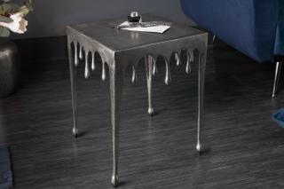Bighome - Príručný stolík LIQUIDE 44 cm - strieborná
