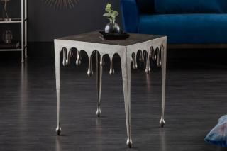 Bighome - Príručný stolík LIQUIDE 46 cm - strieborná