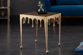 Bighome - Príručný stolík LIQUIDE 46 cm - zlatá