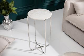 Bighome - Príručný stolík NOBL 38 cm - biela, strieborná