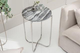 Bighome - Príručný stolík NOBL 38 cm - šedá, strieborná