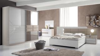 Bighome - Spálňa TOJANA 180 cm - biela, béžová