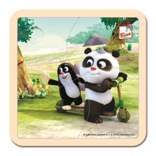 BINO Krtko a Panda kolobežka drevené puzzle 4 diely
