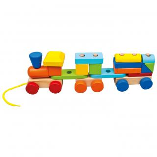 BINO Vláčik s 2 vagónmi drevený