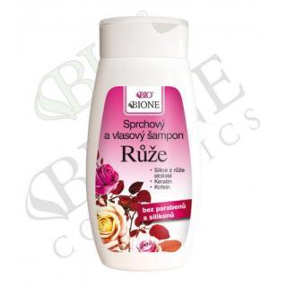 Bione Cosmetics Sprchový a vlasový šampón Růže 260 ml