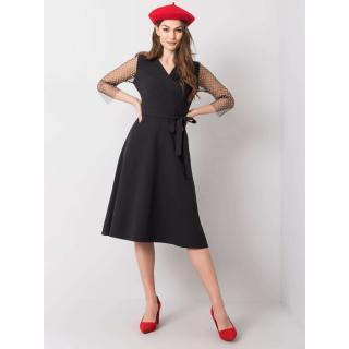 Black dress with decorative sleeves dámské Neurčeno 36