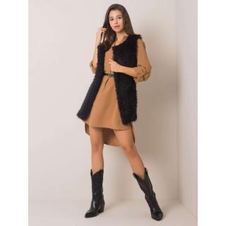Black faux fur vest dámské Neurčeno M