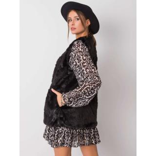 Black vest made of ecological fur dámské Neurčeno S
