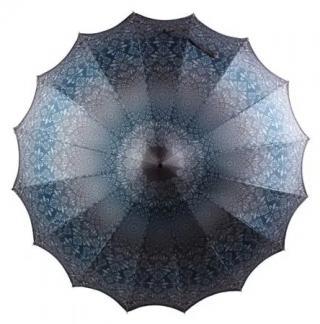 Blooming Brollies Dámsky palicový dáždnik Boutique Patterned Pagoda Umbrella with Scalloped edge Charcoal BCSPA tchao dámské