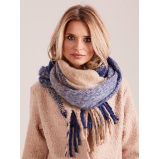Blue fringed checked scarf dámské Neurčeno One size