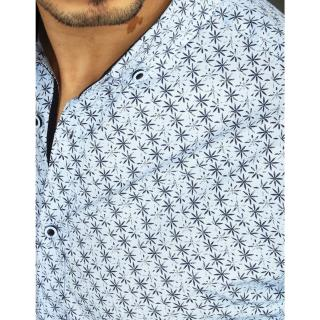 Blue mens elegant shirt with patterns DX2008 pánské Neurčeno XXL
