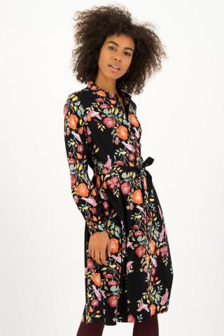Blutsgeschwister čierne košeľové šaty Heart Full of Joy Dress Fall Finch - XL dámské čierna XL