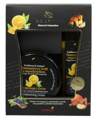 Body tip Darčeková kazeta Pomarančový kvet s mandarínkou - Zvláčňujúci krém 200 ml   Pena do kúpeľa 200 ml