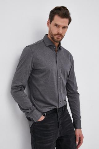 Boss - Tričko s prímesou hodvábu pánské sivá 39