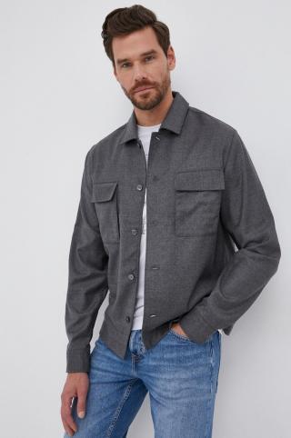 Boss - Vlnená košeľa pánské sivá S