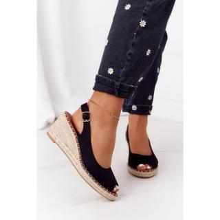 Braided Wedge Sandals Black Las Palomas dámské Other 38