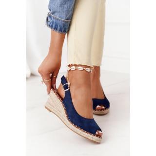 Braided Wedge Sandals Navy Blue Las Palomas dámské Other 39