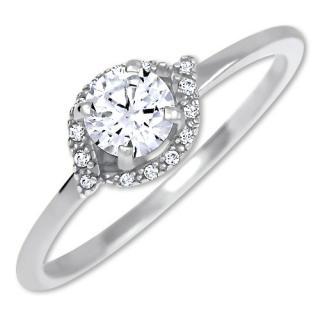 Brilio Očarujúce zásnubný prsteň z bieleho zlata 229 001 00804 07 51 mm