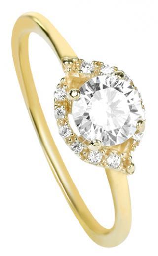 Brilio Očarujúce zásnubný prsteň zo žltého zlata 229 001 00804 54 mm