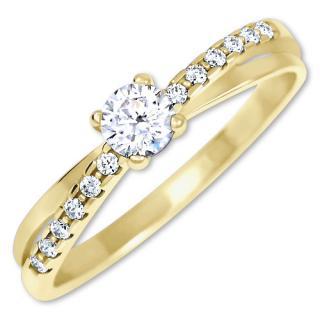 Brilio Pôvabný prsteň s kryštálmi zo zlata 229 001 00810 58 mm