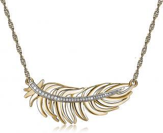 Brosway Romantický pozlátený náhrdelník s pierkom Plume BUM02