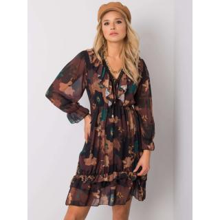 Brown dress with floral prints dámské Neurčeno One size